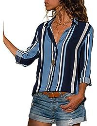 Aranmei Blusa Mujer Chiffon Camisa De Manga Larga Elegante Colorido a Rayas Cuello V Camisas (
