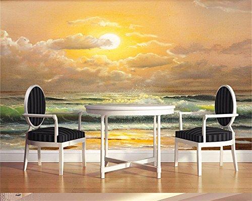Qinmon 3D Wandbild Tapete Dekoration Wandtattoo Glühendes Seewellen-Strand-Fresko Des...