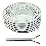 Wire4U®, 2 cavi di alimentazione (forma a 8) di qualità per altoparlanti da 0,50 mm, 50 fili, 10 20 50 100 metri 10 m bianco