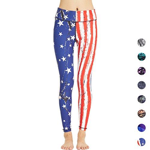 COOLOMG Damen Tights Yoga Hosen Kompression Leggings Sport Trainingshose Lang US Flag XS