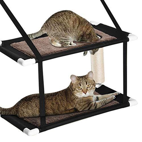 XIHUANMAO Doppelstapel Katze Fenster Barsch Hängematte Fenster Katze Bett, Saugnapf Hängen Haustier Etagenbett