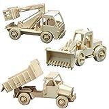 matches21 Holz Bausatz 3er Set Baufahrzeuge Radlader, Hubwagen, Kipplader Steckbausatz f. Kinder Holzbausatz