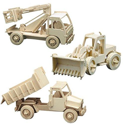 Preisvergleich Produktbild matches21 Holz Bausatz 3er Set Baufahrzeuge Radlader, Hubwagen, Kipplader Steckbausatz f. Kinder Holzbausatz