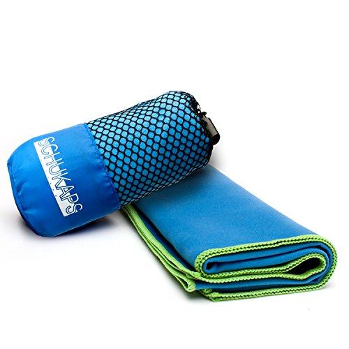 Schukaps Fitness - Asciugamano in microfibra BLU 80x40cm - Bagno, Piscina, Da Viaggio, Campeggio e la Palestra - ma estremamente compatto nel suo sacchetto per il trasporto - Asciugatura Rapida e Leggero - Microfiber Antibacterial Travel Towel 80x40cm Blue