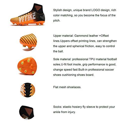 ASHION FG/AG Scarpe da Calcio Professionale Degli Unisex Bambino e Adulto Colorato Blu/Viola/Arancione/Verde Arancione