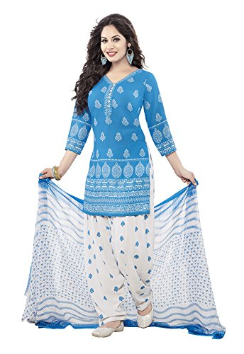 Ishin Women\'s Synthetic Blue & White Bollywood Printed Unstitched Salwar Suit Dress Material (Anarkali/Patiyala) With Dupatta
