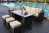 Yakoe Conservatory 9 Seater Rattan Garden Furniture Corner Dining Set - Light Brown
