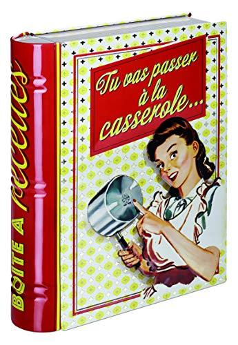 Natives 310570 Livre Boîte pour Fiches Recettes Métal, Multicolore, 19 x 5 x 24 cm