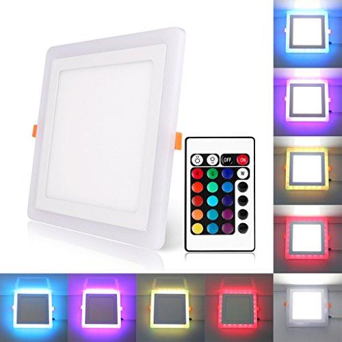 Bloomwin led lampada da incasso a soffitto faretto downlight led con 3 modalità plafoniera illuminazione 24w quadrato rgb+bianco