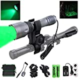 VASTFIRE Single 1 Mode 350 yard Green LED Flashlight for Hunting with dual