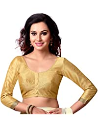 STUDIO SHRINGAAR LATEST POLY RAW SILK STITCHED SAREE BLOUSE WITH 3/4 TH SLEEVES