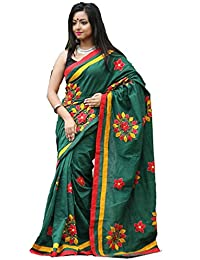 Tant Ghar Women's Cotton Hand Loom Applique Sarees With Applique Blouse (GREEN) HA-2