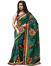 Tant Ghar Women's Cotton Hand Loom Applique Sarees With Applique Blouse (GREEN) HA-2
