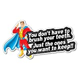BRUSH YOUR TEETH Super Hero STICKER Home Decals Stickers