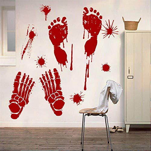 Terror Blut Handabdruck Halloween Wandaufkleber Blut Footprint Windows Aufkleber Neueste Halloween Dekoration Urlaub Aufkleber