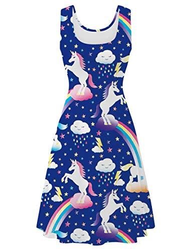 uideazone Damen Einhorn Kleider Elegant Ärmellos U-Ausschnitt A Linien Casual Regenbogen Kleid Retro Blau Kleider -