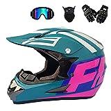 MRDEER Adult Motocross Helm Set Unisex Off Road Helm Kit Motorradhelm Cross Helme Schutzhelm ATV Helm mit Handschuhe Maske Brille für Männer Damen Sicherheit Schutz,B,XL