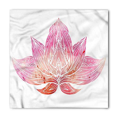 Icndpshorts Lotus Bandana, Pink Toned Flower Ornament, Unisex Head and Neck Tie 60x60cm (Bekleidung Lotus Pink)