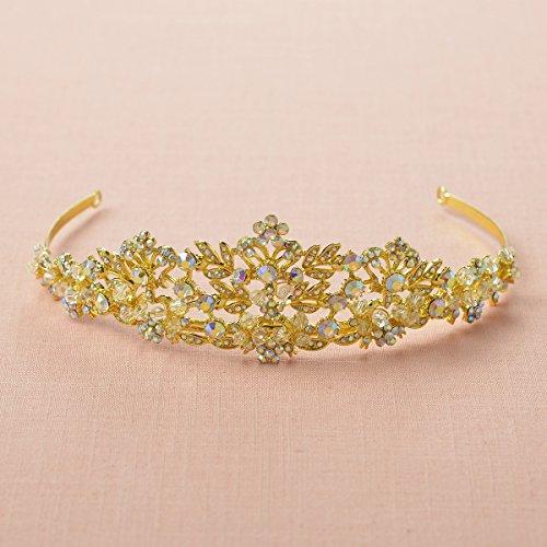 SWEETV Princesa De Diamantes De Imitación Princesa Tiara Venda Páginaant Boda Corona, Dorado