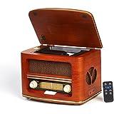 Vintage Radio, Retro Radio CD Spieler ,CD/MP3 , FM-LW| USB-Anschluss und Fernbedienung | Radio mit Echtholz-Gehäuse| Nostalgisches Radio Holzfarbe Design | Retro Radio für küche