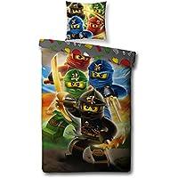 Familando Wende Bettwäsche Set Lego Ninjago, 135x200cm + 80x80cm, Linon 1475 Baumwolle Kinderbettwäsche