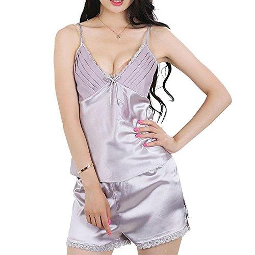 CHUNHUA Mme dentelle imitation pyjama de soie écharpe short court costume pantalon survêtement fente (couleur en option) , champagne , m Gray