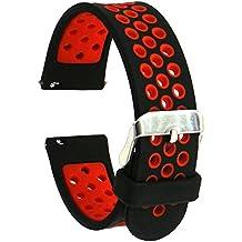 Runtenic 20mm Gear S2 / Pebble Time Banda Soft Silicone Replacement Sport Band Correa para Samsung Galaxy Gear s2 Classic SM-R7320 / LG G / Motorola Moto 360 2 42mm / Garmin Vivomove Classic / Sport / Huawei Watch 2 Smart Watch (Black Red)
