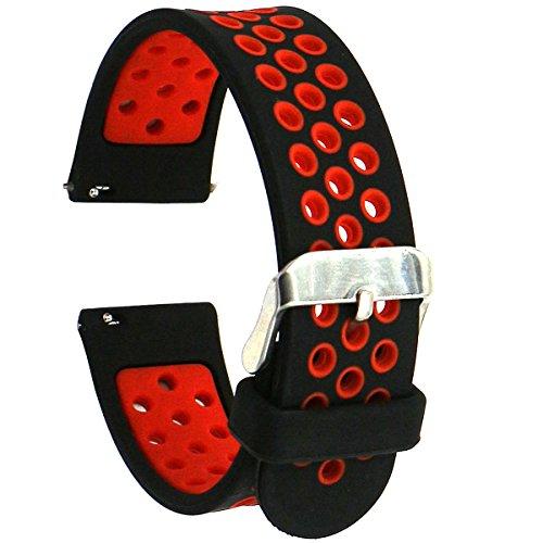 EL-move silicone Smartwatches18mm20mm22mm24mm Accessori (Black Red 22MM)