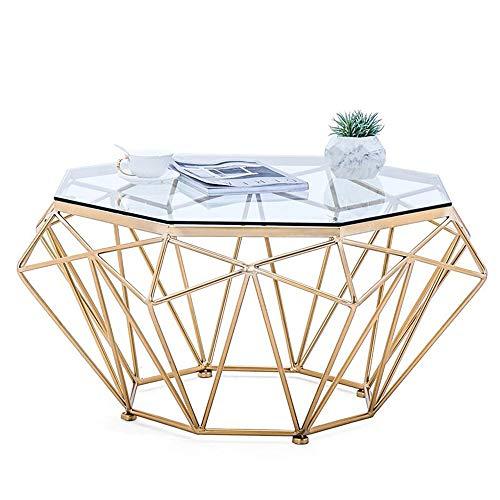 Gehärtetes Klar Glas Tisch (ZHIRONG Gehärtetes Glas Beistelltisch Wohnzimmer Kaffetisch Sofa Beistelltisch Balkon Freizeittisch - Transparente Glasplatte, 22.4''x17.7'' (Color : Gold))