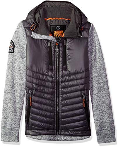Superdry Herren Storm Hybrid Zip Hoodie Kapuzenpulli, Light Grey Grit, Mittel Super Dry Zip Hoody