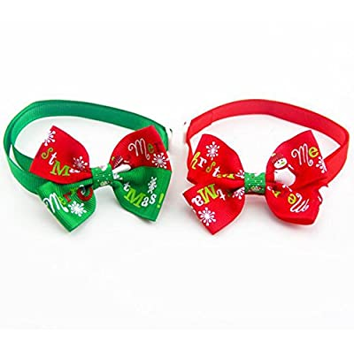 Outflower Pet Ornament Dog Christmas Bow Tie Cat Winter Coat Accessories Collar Pet Ribbon Accessories from Outflower