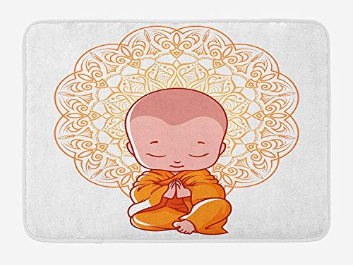 Mandala Bath Mat, Meditation Theme Cartoon Baby Monk Meditating on The White Background Print, Plush Bathroom Decor Mat with Non Slip Backing, 23.6 W X 15.7 W Inches, White And Orange