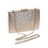 Damen Tasche PU Abendtasche Knopf Schwarz Silberne Hochzeitstasche,Silver