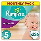 Pampers Premium Protection Active Fit Nappies, Monthly Saving Pack - Size 5, 136 Nappies (Personal Care)
