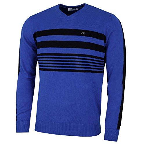Calvin Klein Herren V-ausschnitt (Calvin Klein V-Ausschnitt Streifen auf der Brust Sweater - Roy/Schwarz - S)