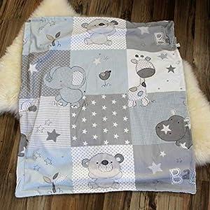 kuschelige Babydecke Kuscheldecke Wagendecke Jungs Decke Sterne grau blau Giraffe Elefant