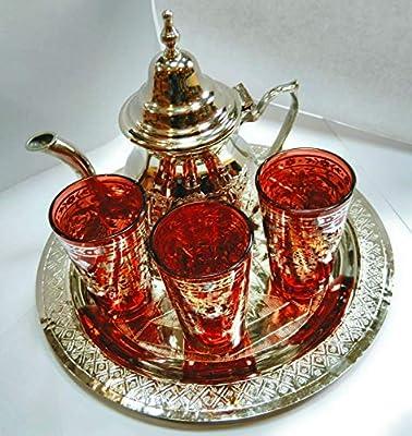 Traditionnel lot de TE marocaine senteur?; Arabe 3Verres en verre,1théière, 1plateau gravé de 25cm de diamètre.
