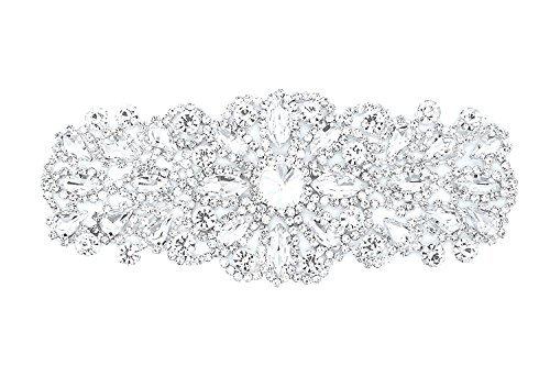 Strassstein Motiv Strass Kristalle Zum aufnähen Applikation Flicken - Perfekt für Hochzeit Braut Kleid, Freizeit oder Formelle Bekleidung Mode Accessoires 60 mm x 50mm (ca.) Patch Nr. A138