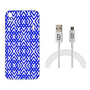 Designer Hard Back Case for Lenovo A7000 with 1.5m Micro USB Cable