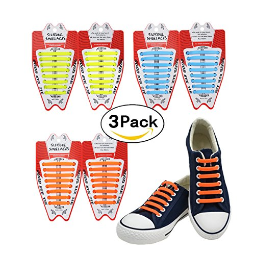 FIVE BEE 3 Paar tragbare, elastische Silikon-Schnürsenkel ohne Binden, Wasserdichte Gummi-Flache Lauf-Schnürsenkel für Sneaker, Board-Schuhe, Freizeitschuhe und Stiefel, Orange-Yellow-Sky Blue
