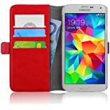 Samsung Galaxy S5 / S5 Neo, JAMMYLIZARD Luxuriöse Ledertasche Flip Cover, ROT
