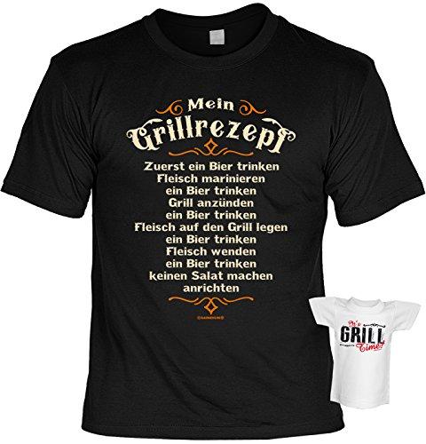 51BWIs0a4fL - Tini - Shirts Griller Sprüche-Tshirt - lustiges Grill-Set - Griller Partyshirt : Mein Grillrezept - Zuerst Ein Bier Trinken - Bekleidung Grillen Grill Zubehör + Mini Flaschenshirt Gr: XXL
