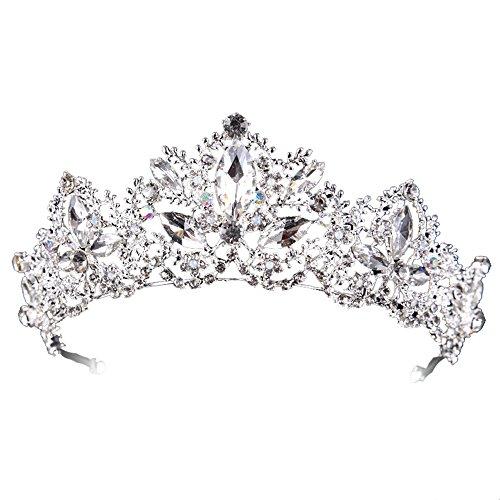 Hochzeit Braut Kristall Perlen Tiara Diadem Strass Krone Silber Haarschmuck Kommunion Haarreif