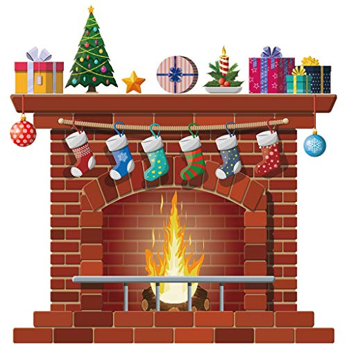 WARMWORD Pegatinas de Pared Infantil - Vinilo Decorativo Chimenea Navideña - Pegatina Pared Decoración...