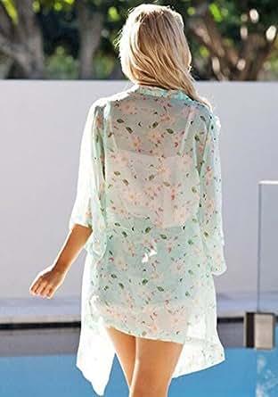 Culater® Frauen Damen Sommer Blumenmuster Gallus ärmellos rückenfrei Kleid weiß (S)