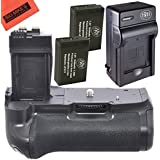 Battery Grip Kit for Canon EOS 1100D EOS Rebel T6i Rebel T6s EOS 750D EOS 760D EOS 8000D KISS X8i Digital SLR (BG-E18 Replacement) - Includes Battery Grip + 2 LP-E17 Batteries + Battery Charger