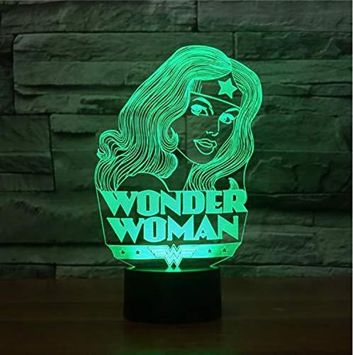 Blbling Led 3D Frau Modellierung Schreibtischlampe Super Hero Nachtlichter 7 Farbwechsel Kinder Schlafzimmer Beleuchtung Wohnkultur