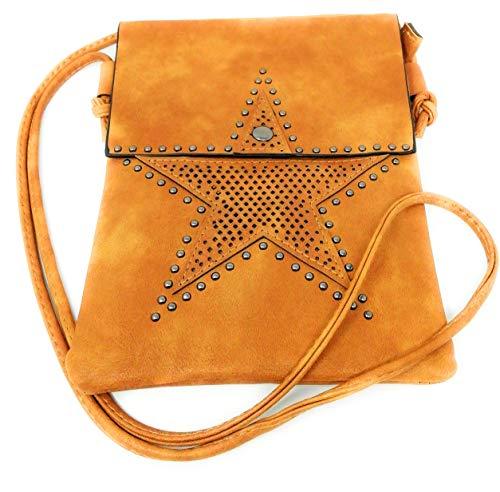 AceMonkey Bolso mujer, Bolso bandolera mujer, Bolso señora, Bolso de mano, Bolsos de mujer con diseño remaches en forma de Estrella. (Brown Star)