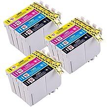 PerfectPrint - 12 Compatible Cartuchos de tinta Epson para Epson Stylus S22 SX125 SX130 SX420W SX425W SX445W BX305F BX305FW SX230 SX235W SX445W SX435W SX430W SX438W SX440W Impresora. 3x + 3x T1281 Negro T1282 Cian T1283 Magenta + 3x + 3x T1284 Amarillo