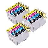 12 Cartucce di inchiostro compatibili per Epson Stylus S22 SX125 SX130 SX420W SX425W SX445W BX305F BX305FW SX230 SX235W SX445W SX435W SX430W SX438W SX440W Stampante. 3x T1281 Nero, 3x T1282 Ciano, 3x Magenta T1283, 3x T1284 Giallo